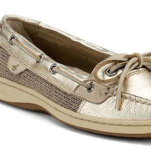 Sperry Angelfish Gold Metallic Boat Shoe 8